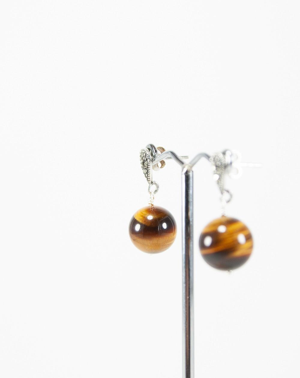 Boucles d'oreilles Oeil de Tigre, Marcassites, Sanuk Création