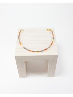Bracelet épure Cornaline Quartz fumé, Collection épure