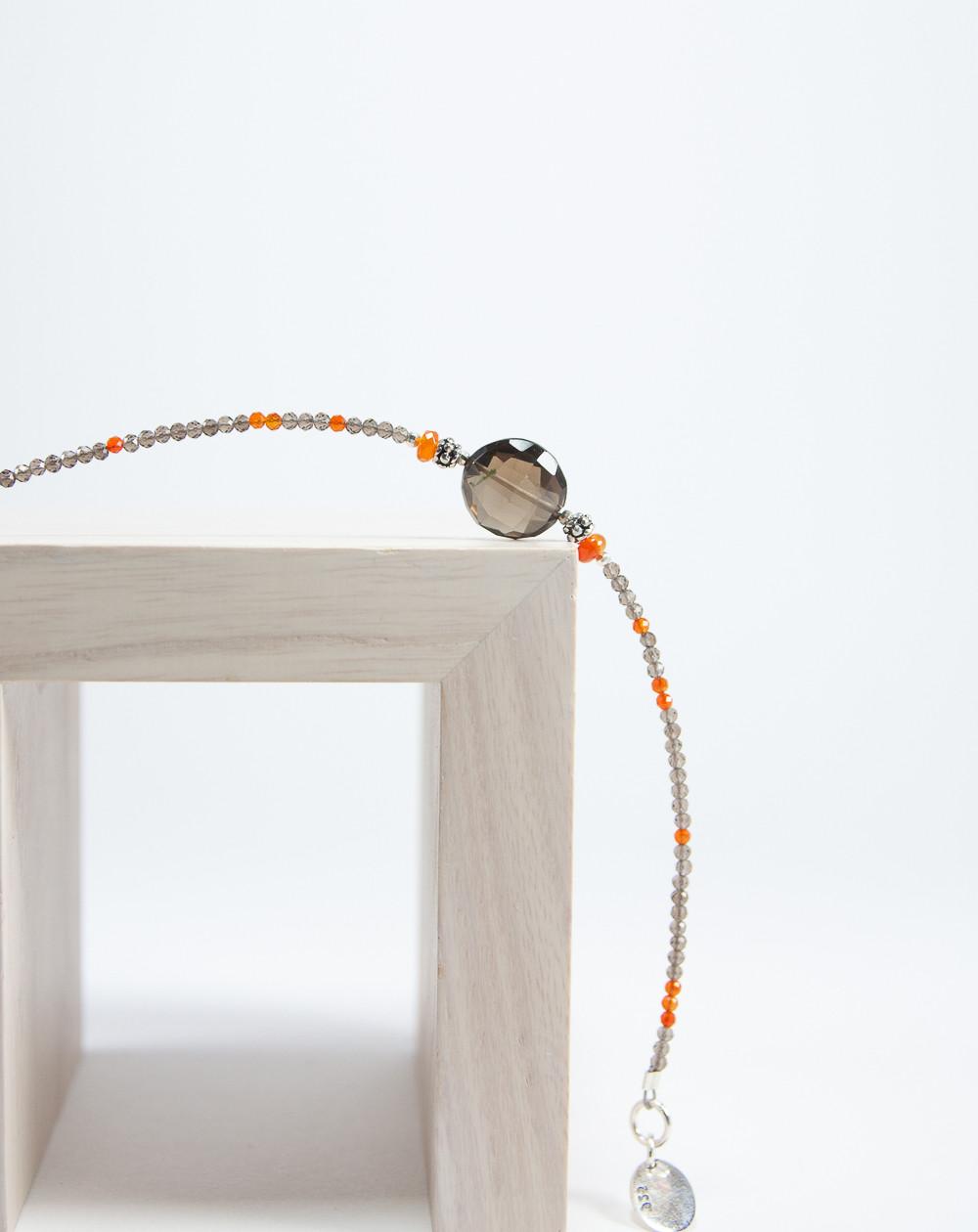 Bracelet en Cornaline et Quartz fumé, Sanuk Création