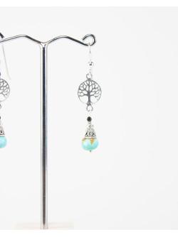 Boucles d'oreille arbre de vie et Turquoise, collection Kimua, Sanuk Création