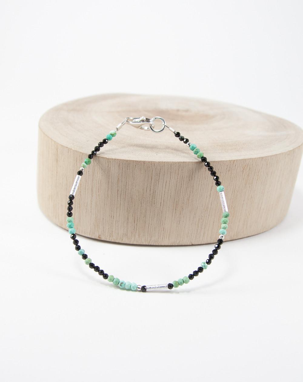 Bracelet collection épure Turquoise Spinelle noir, Sanuk Création