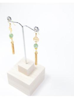 Boucles d'oreilles longue Arbre de vie Jade, Sanuk Création