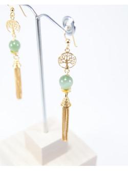 Boucles d'oreilles longue Arbre de vie Jade, Sanuk Création. Collection Kimua