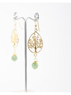 Boucles d'oreilles Arbre de vie Jade et Préhnite. Collection Kimua. Sanuk création