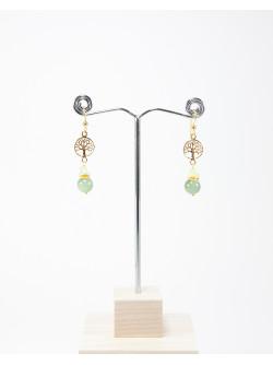 Boucles d'oreilles Arbre de vie Jade et Préhnite, Collection Kimua, sanuk Création