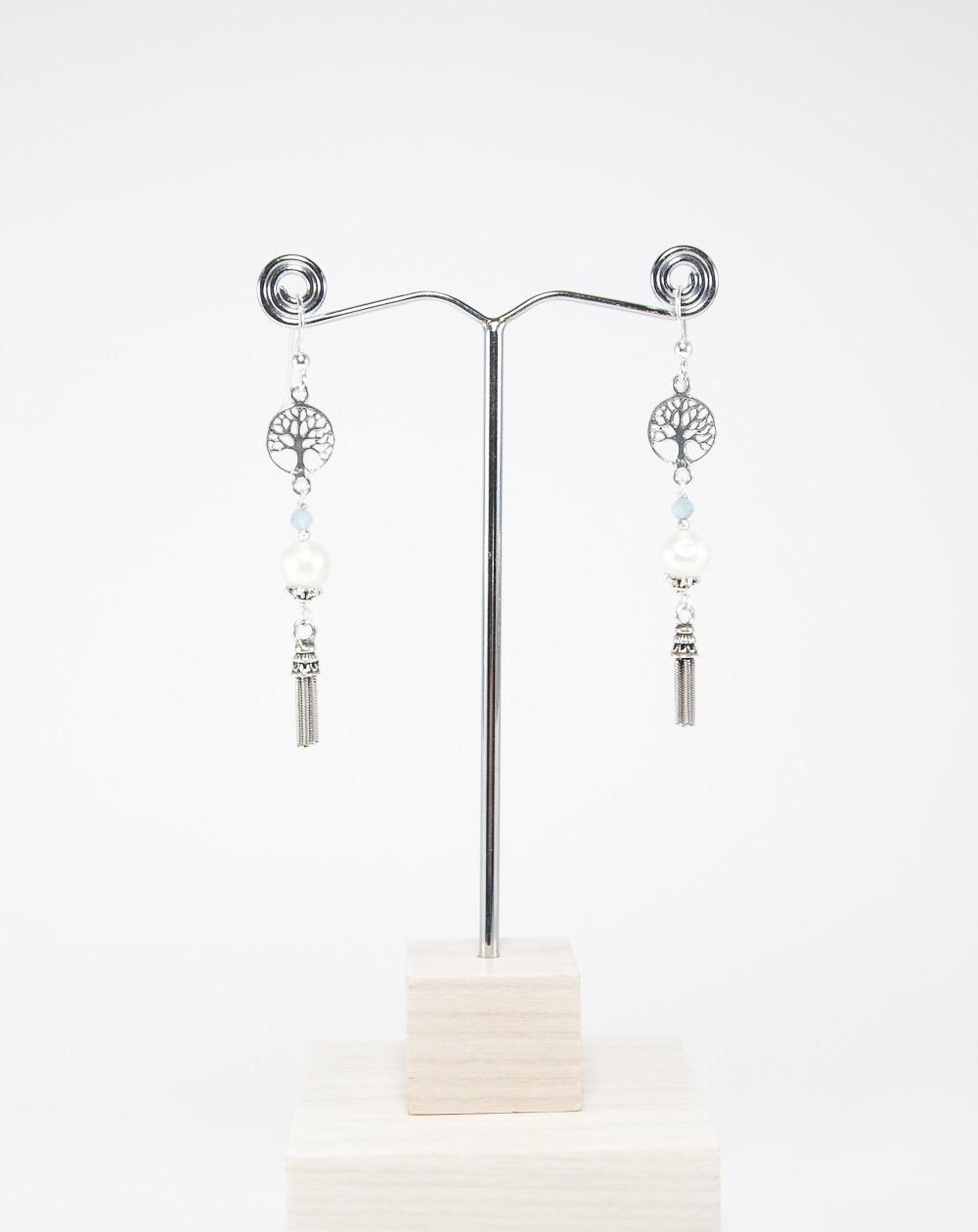 Boucles d'oreilles Arbre de vie Perle et Aigue-Marine, Collection Kimua, Sanuk Création, Bayonne