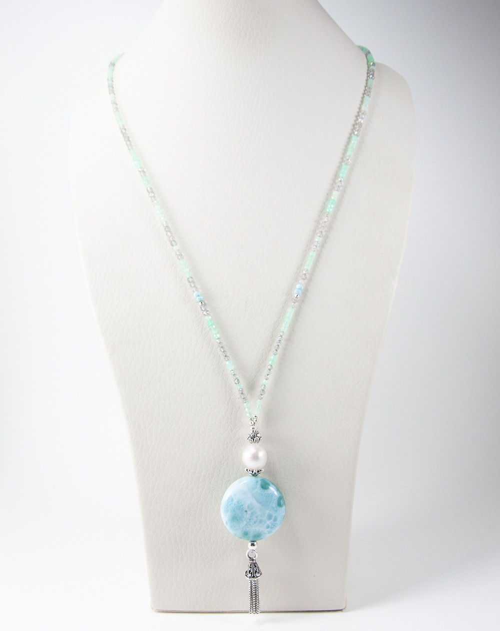 Collier mi long, Larimar, perle, Labradorite, Chrysoprase, Sanuk Création