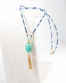 Sautoir Turquoise et Scarabée Lapis Lazuli, Collection Khépri, Sanuk Création