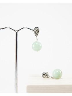 Boucles d'oreilles en Jade Marcassite
