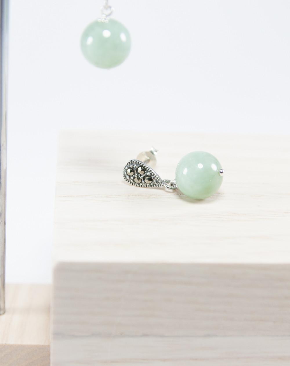 Boucles d'oreilles en Jade Marcassite, Sanuk création