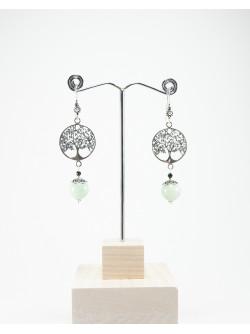 Boucles d'oreilles arbre de vie Jade de Birmanie, Sanuk Création