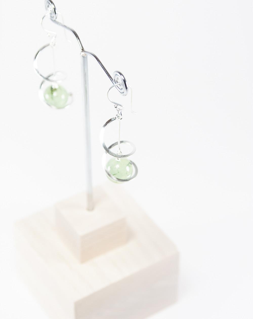 Boucles d'oreilles torsade Préhnite, Sanuk création