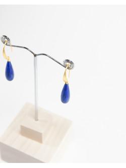 Boucles d'oreilles plaqué or, gouttes de  Lapis Lazuli, Sanuk Création