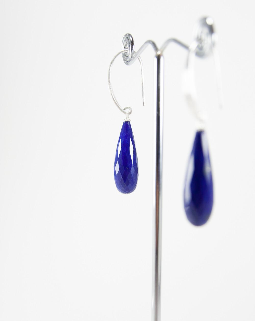 Boucles d'oreilles en Lapis Lazuli, Argent brossé, Sanuk Création