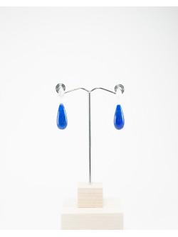 Boucles d'oreilles en gouttes de Lapis Lazuli, argent brossé, Sanuk Création