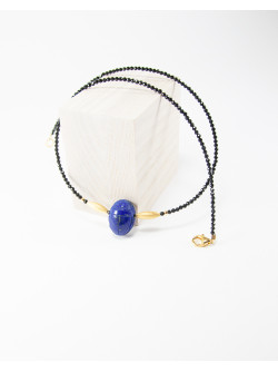 Collier Spinelle scarabée Lapis Lazuli, collection Khépri, Sanuk Création