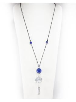 Sautoir Arbre de vie, Lapis Lazuli Hématite, collection Kimua, Sanuk Création