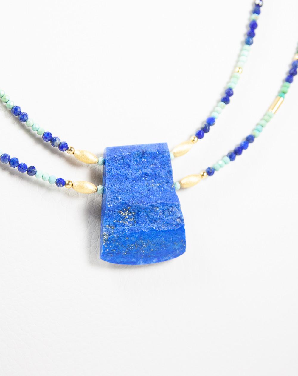 Collier double Turquoise Lapis Lazuli brut, Sanuk création