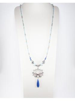 Sautoir Fleur de Lotus, Cyanite, Aigue marine, Labradorite, collection Dokbua, Sanuk Création