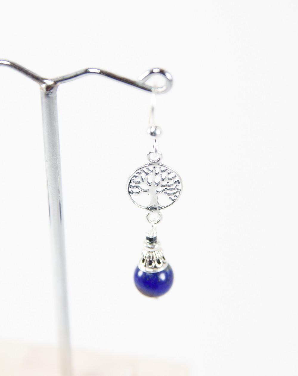 Boucles d'oreilles arbre de vie en Lapis Lazuli, Sanuk Création