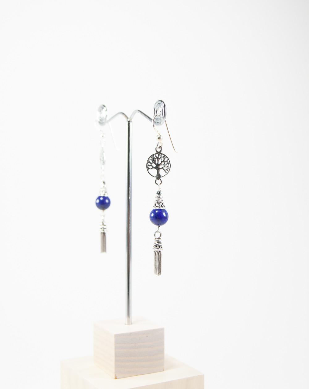 Boucles d'oreilles arbre de vie Lapis Lazuli, Sanuk création