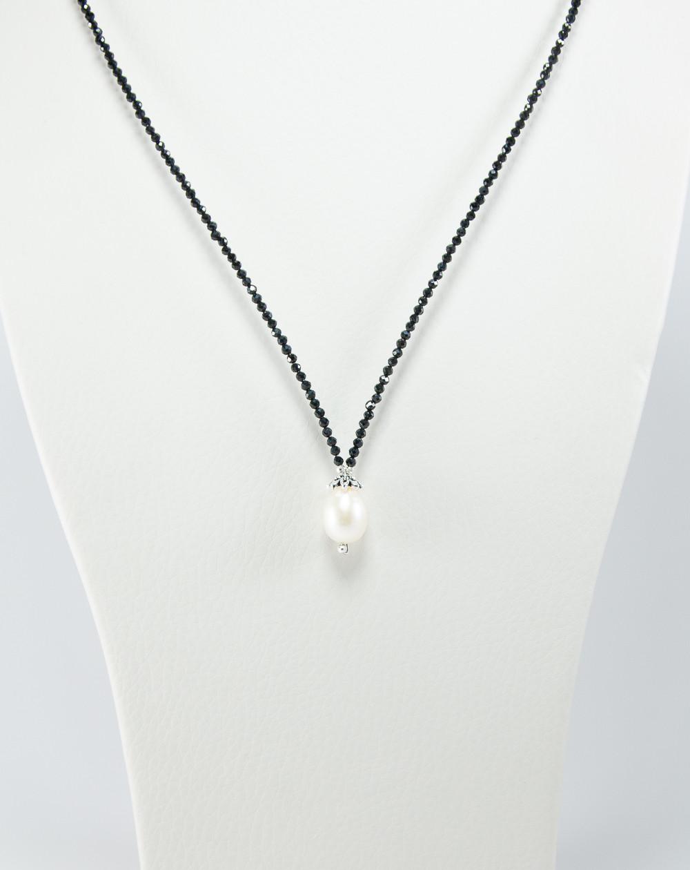 Collier collection Signature en Perle et Spinelle noir, Sanuk Création
