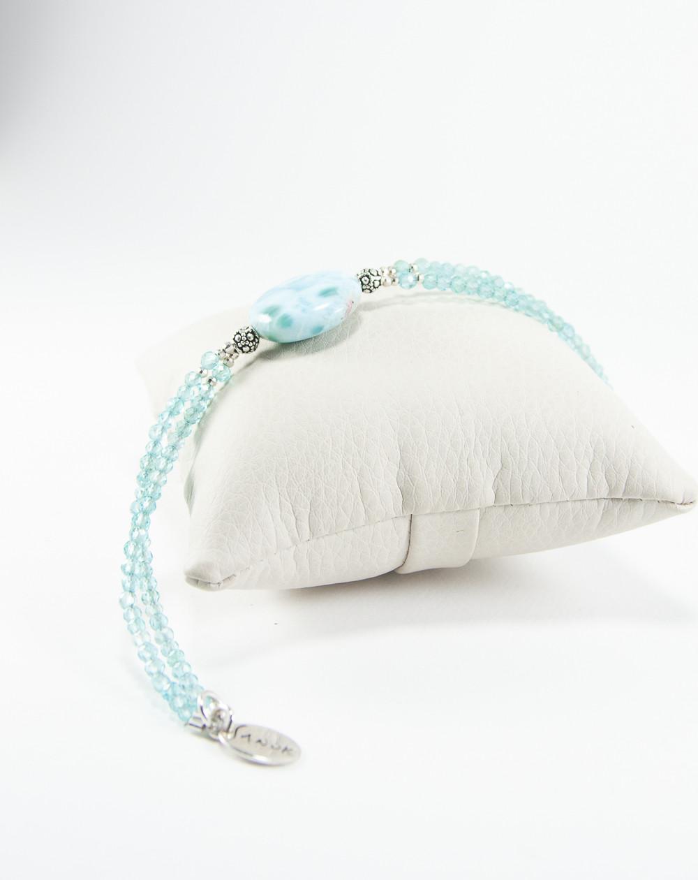 Bracelet double en Apatite et Larimar, Sanuk Création, Créateurs Français