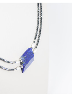 Collier double en Hématite et Lapis Lapis Lazuli, Sanuk Création. Créateurs Français