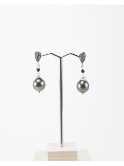 Boucles d'oreilles marcassite Perles de Tahiti, Sanuk Création. Créateurs Français