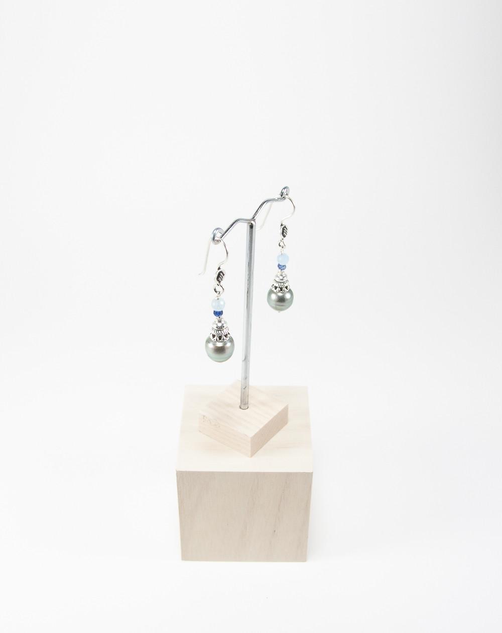 Boucles d'oreilles Perle de Tahiti Aigue-marine, Sanuk Création. Créateurs Français