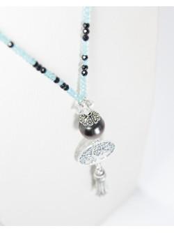 Sautoir arbre de vie en Perle de Tahiti, Apatite et Spinelle noir, Sanuk Création. Créateurs Français