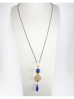 Sautoir arbre de vie en Lapis Lazuli et Pyrite. Collection Kimua. Sanuk Création. Créateurs Français