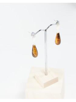Boucles d'oreilles goutte d'oeil de Tigre. Sanuk Création créateurs Français