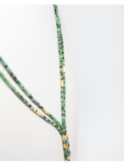 Collier collection épure Rubis Zoïsite. Sanuk Création. Créateurs Français