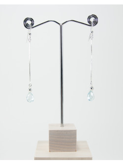Boucles d'oreille Aigue-Marine sur chaine, Sanuk création