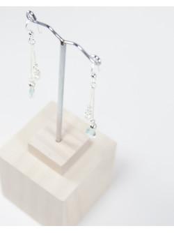 Boucles d'oreille Aigue-Marine et Perle. Sanuk création. Créateurs Français