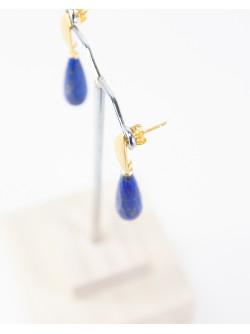 Boucles d'oreilles goutte facetté de Lapis Lazuli, Sanuk Création. Créateurs Français