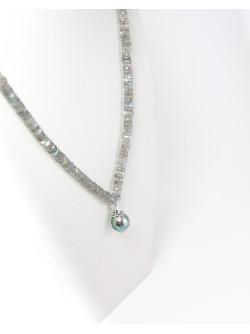 Collier en Labradorite et Perle de Tahiti, Sanuk Création. Créateurs Français
