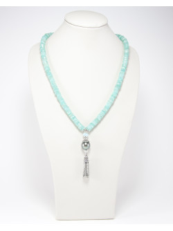 Collier Amazonite et Perle de Tahiti, Sanuk Création. Créateurs Français
