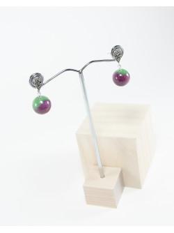 Boucles d'oreilles Marcassites Rubis sur Zoisite