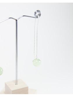 Boucles d'oreilles double chaine en Préhnite, Sanuk Création. Créateurs Français