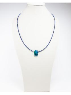 Collier Spinelle Lapis Lazuli Dioptase, Créateurs Français. Sanuk Création