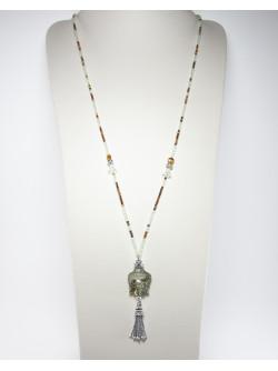 Collier Bouddha Labradorite, Oeil de tigre, Prénite. Créateurs Français. Sanuk Création