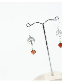 Boucles d'oreilles arbre de vie Grenat. Collection Kimua. Créateurs Français, Sanuk Création