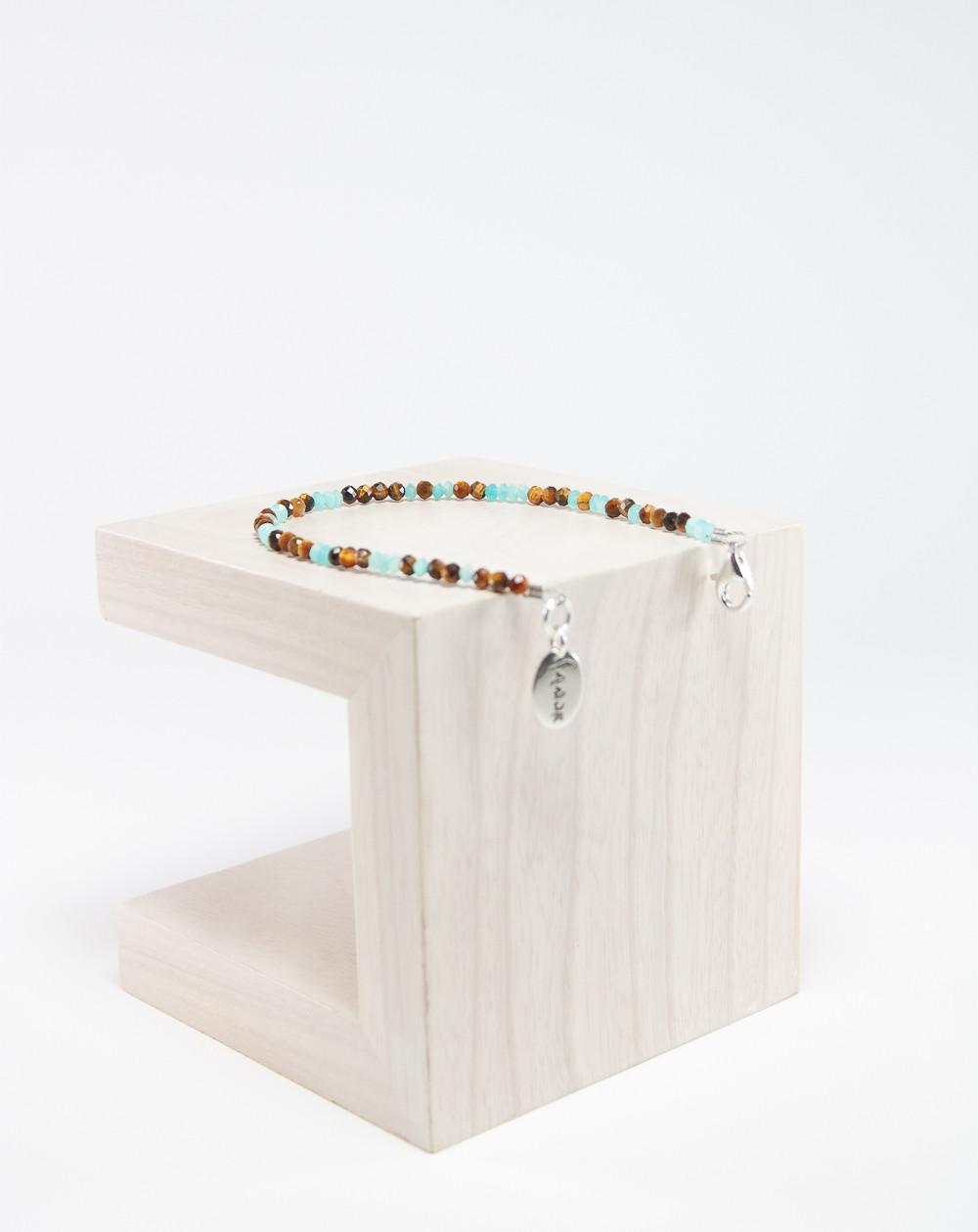 Bracelet en Oeil de tigre et Amazonite, Créateurs Français. Sanuk Création