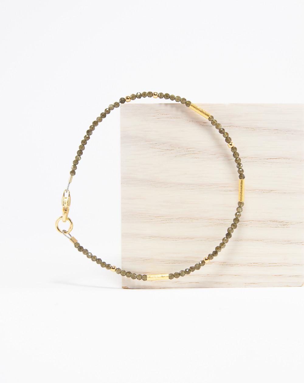 Bracelet collection épure Obsidienne dorée. Sanuk Création