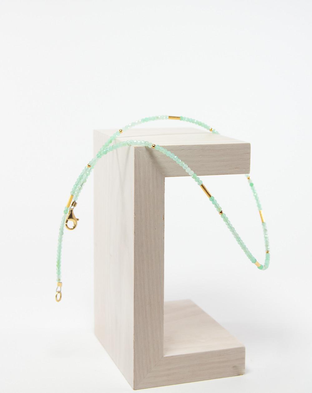 Collier collection épure Chrysoprase. Créateurs Français. Sanuk Création