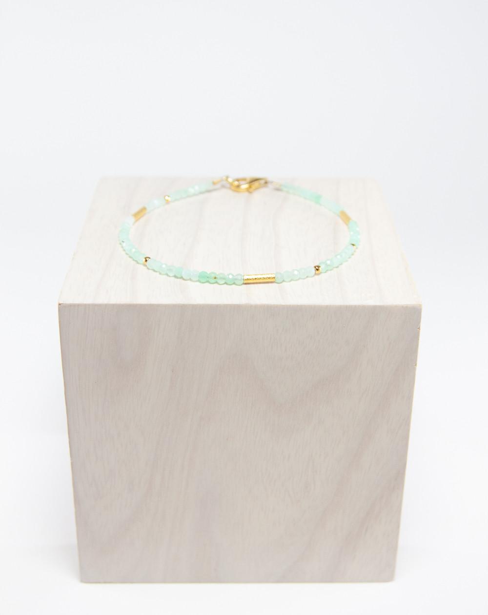Bracelet collection épure Chrysoprase. Créateurs Français. Sanuk Création