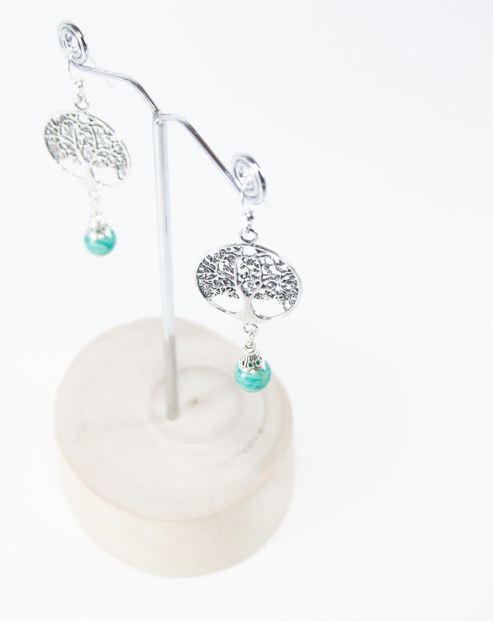 Boucles d'oreilles arbre de vie, Amazonite, Créateurs Français. Sanuk Création