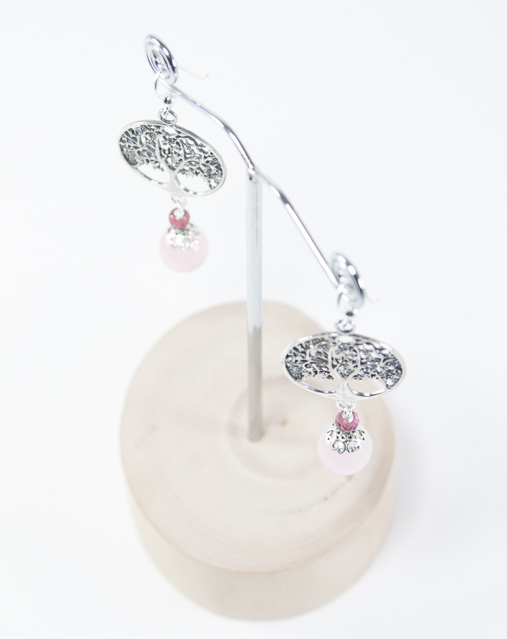 Boucles d'oreilles arbre de vie Quartz Rose, Collection Kimua. Sanuk Création
